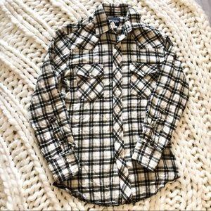 mens wrangler long sleeve plaid flannel cream